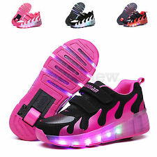 Unisex Boys Girls Roller Skate Shoes LED Light Up Shoes Kids Retractable Wheel