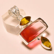 Faceted Multi Tourmaline, Citrine Topaz 925 Silver Pendant Jewelry 40CTS