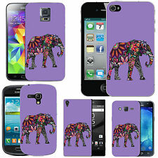 gel case cover for many mobiles - violet floral elephant silicone