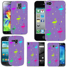 gel case cover for many mobiles - violet multi flamingo droplet silicone