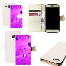 pu leather wallet case for majority Mobile phones -  purple rain ladybird white
