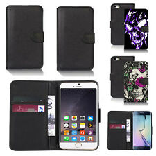 black pu leather wallet case cover for many mobiles design ref q785