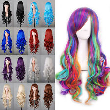 Beautiful Women's Layered Wavy With Bangs Cosplay Party Long Full Wigs Lolita