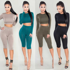 Sexy Fashion Women 2Pcs Jumpsuit Folding Navel Crop Tops Bodycon Playsuit Romper