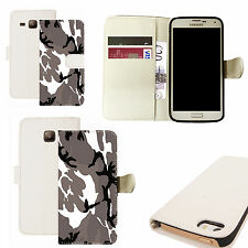 pu leather wallet case for majority Mobile phones - grey cammy white