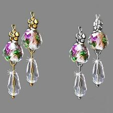 Earrings, Clear crystal lampwork pink rose gold, choose clip on or pierced