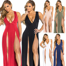 Sexy New Women Bandage Gown Long Dress V-neck Split Skirt Bodycon Clubwear Dress
