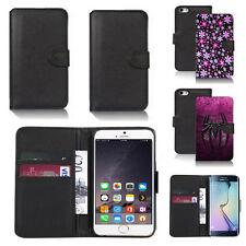 black pu leather wallet case cover for many mobiles design ref q447