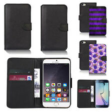 black pu leather wallet case cover for many mobiles design ref q437