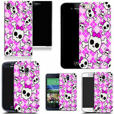 motif case cover for various Popular Mobile phones - pink bow skull