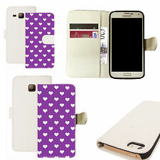 pu leather wallet case for majority Mobile phones -  purple populous heart white