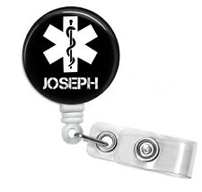 STAR OF LIFE MEDICAL SYMBOL PERSONALIZED RETRACTABLE ID BADGE HOLDER OR LANYARD
