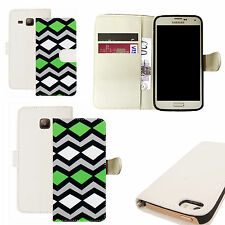 pu leather wallet case for majority Mobile phones - serated design white