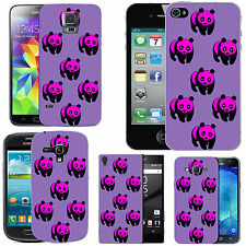 gel case cover for many mobiles - violet multi pandas. silicone