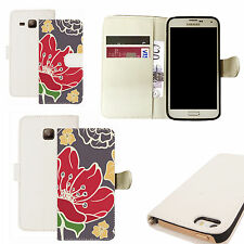 pu leather wallet case for majority Mobile phones - red poppy white