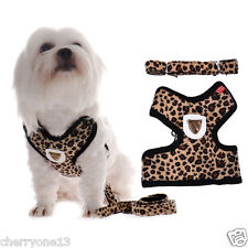 Leopard Cat Pet Dog Harness Leash Puppy Soft Vest Walking Out Strap Collar Lead