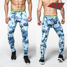 Blue Camo Men Compression Pants Base Layer Skin Tight Running Yoga Workout Gym