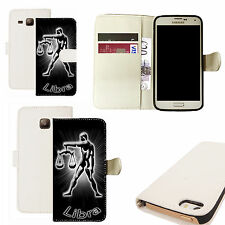 pu leather wallet case for majority Mobile phones -  black libra white