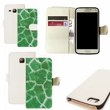 pu leather wallet case for majority Mobile phones - green cheetah print white