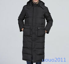 Winter Mens Long Hooded Duck Down jacket Puffer Warm  Full Length Parka Coat Sz