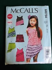 NEW McCALLS SEWING PATTERN M6734 CHILDS DRESS SKIRT TOP SHORTS 2-5 UNCUT