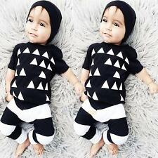 2pcs Newborn Infant Baby Boy Girl Clothes T-shirt Pants Leggings Outfit #3YE