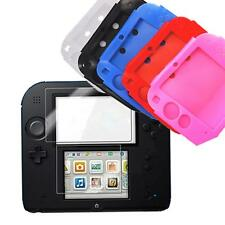 Clear LCD Screen Protector + Silicone Gel Skin Hard Case Cover for Nintendo 2DS