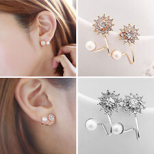 1Pair Women Fashion Jewelry Lady Elegant Pearl Rhinestone Ear Stud Earrings HS