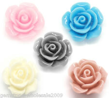 Wholesale Lots Mixed Resin Embellishments Rose Jewelry Making Findings 14x6mm