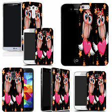gel rubber case cover for  Mobile phones - pink lovebird owls silicone