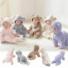 Newborn Infant Baby Boy Girl Outfit Romper Jumpsuit Bodysuit Hooded Clothes 0-24