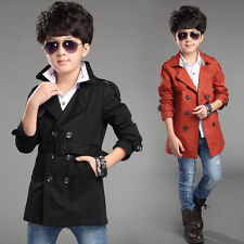 6482 Boys Kids Clothes Soild Double-breasted Belted Trench Coat Jacket S4-10Y