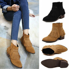 Fashion Women's New Martin Ankle Boots Suede Tassel Shoes Genuin Leather Booties