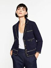 ZARA AW2016 TWEED JACKET NAVY BLUE CONTRASTING DETAIL SIZES XS S M L XL 7780/635