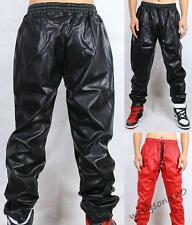 Stylish Mens Black Long pu Leather Pants Street punk pants casual Trousers new