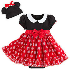 NWT Disney Store Minnie Mouse RED Baby Costume & 3D Ears Hat SET 3 6 9 12 18 24M