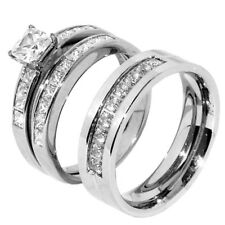 3 PCS Stainless Steel Hers Princess Cut CZ Engagement Set/ His 9 round CZs Band