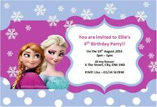 10 x Personalised Frozen Birthday Party Invitations / Thank You Anna Elsa