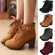 Womens Lace Up Mid Chunky Block Heel Ankle Boots Platform Buckle Suede Shoes NEW