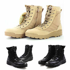Mens Desert Army Side Zip Combat Patrol Boots Tactical Shoes Military Tan Jungle
