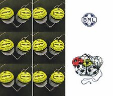 **30% off** 12 x PRECISION MISSION FOOTBALLS + BALL NET - SIZE 5 - FLUO YELLOW