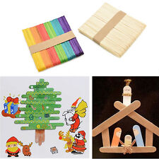 50/100Pcs Wooden Popsicle Sticks for Party Kids DIY Crafts Ice Cream Pop 2016