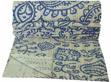 INDIAN BLUE FLORAL KANTHA QUILT THROW GUDRI REVERSIBLE TWIN SIZE BEDSPREAD RALLI