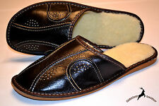 Mens Real Black Leather Wool Slippers Shoes Sandal Handmade Poland Warm Soft New