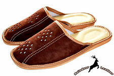 Mens Real Suede Leather Brown Slippers Shoes Sandal Handmade Poland Scuff Slide