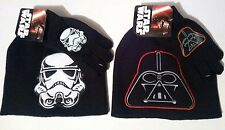 Star Wars Darth Vader Stormtrooper Winter Knit Beanie Hat & Gloves Set Boys OSFM