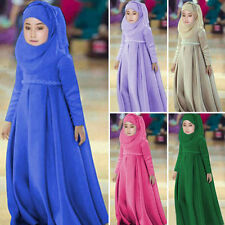 Muslim Fashion Girl Children Long Dress Kaftan Arab Jilbab Abaya+ Hijab Sets