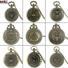 US Army Design Antique Pocket Watch Quartz Pendant Chain Necklace Retro Bronze