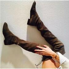 Winter Womens Flat Slouch Over Thigh Knee High Boots Lace Up Pull on Shoes Plus