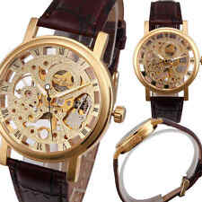 Winner Skeleton Dial Mechanical Leather Band Mens Wrist Watch Gift Vintage